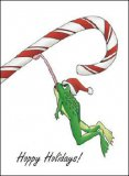 Candycane Frog Christmas Cards, Box of 10