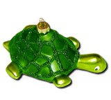 Green Turtle Blown-Glass Ornament
