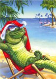 Lounging Gator Christmas Cards, Box/18