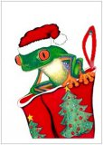Stocking Stuffer Frog Christmas Cards, Box/10