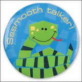 """Sssmooth Talker"" Snake Pin-On Button"