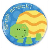 """Shell Shock"" Turtle Pin-On Button"