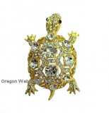 Golden Crystal Turtle Brooch/Pendant