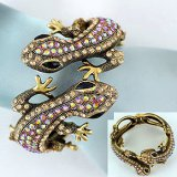 Gold & Crystal Lizard Bracelet