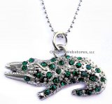 Silver & Crystal Alligator Necklace