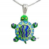 Calypso Turtle Silverplate Enamel Necklace