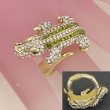 Gold and Crystal Alligator Cocktail Ring