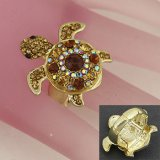 Sparkly Crystal Topaz Turtle Cocktail Ring