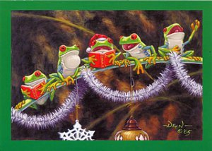 """Sing With Joy"" Frog Christmas Cards - Box of 10"