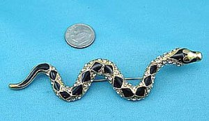 Black & Gold Crystal Snake Pin