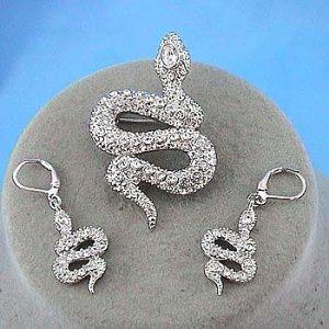 Snake Crystal Earring/Pin Set