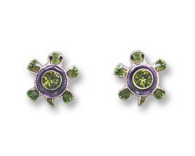 Sterling Enamel Crystal Turtle Earrings