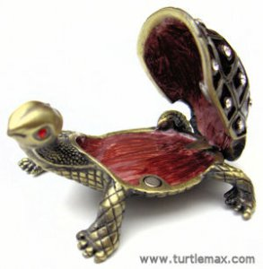 Antiqued Gold & Crystal Turtle Box