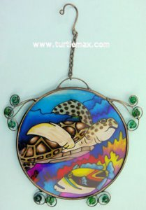Green Sea Turtle Painted Suncatcher