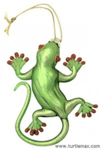 Green Glass Hanging Gecko Ornament
