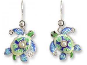 Pearly Turtle Sterling Enamel Earrings