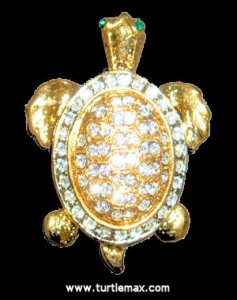 Gold & Crystal Turtle Pin/Pendant