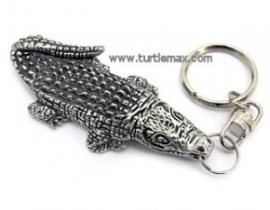 Pewter Alligator Keychain