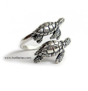 Double Sea Turtle Sterling Adjustable Ring