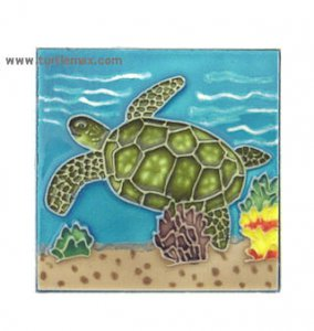 Small Sea Turtle Art Tile