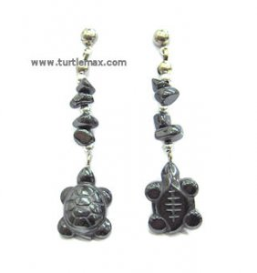 Hematite Beaded Turtle Earrings