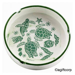 Turtle Embossed Green Swirl Ashtray