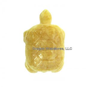 Carved Stone Turtle Charm: Calcite - ENERGY