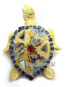 Mosaic Sand Colored Sea Turtle Magnet