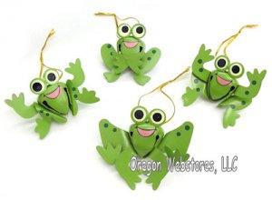 Happy Frog Bell Ornaments (set of 4)
