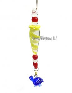 Colorful Swirled Glass Turtle Ornament