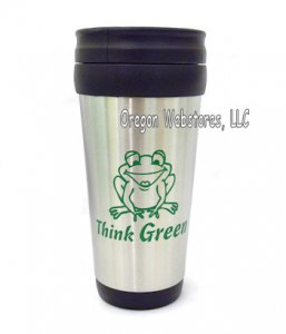 """Think Green"" Stainless Steel Travel Mug"