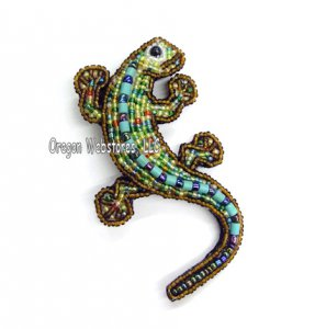 Beaded Gecko Pin