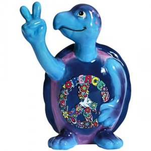 Peace Turtles: Flowers Turtle Figurine