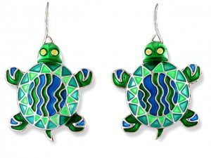 Calypso Turtle Silverplate Enamel Earrings