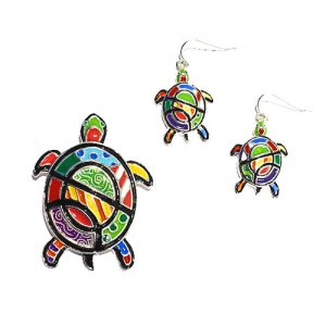 Colorful Abstract Turtle Earrings and Pendant Set