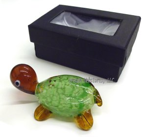 Green Speckled Handmade Glass Turtle