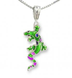 Calypso Gecko Silverplate Enamel Necklace