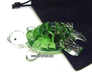 Little Green Molded-Glass Turtle Figurine