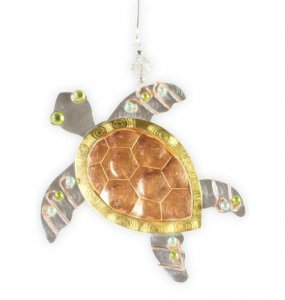 Hammered Copper Sea Turtle Ornament