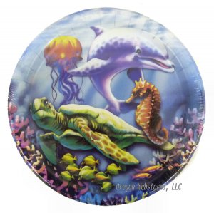 Sea Turtle and Dolphin Large Party Plates, pk/18