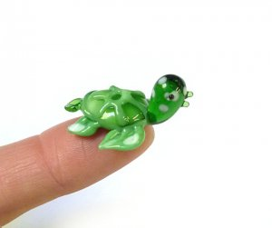 Teeny Tiny Green Glass Sea Turtle