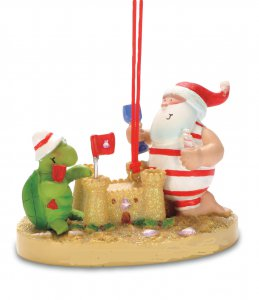 Resin Santa, Turtle and Sandcastle ornament